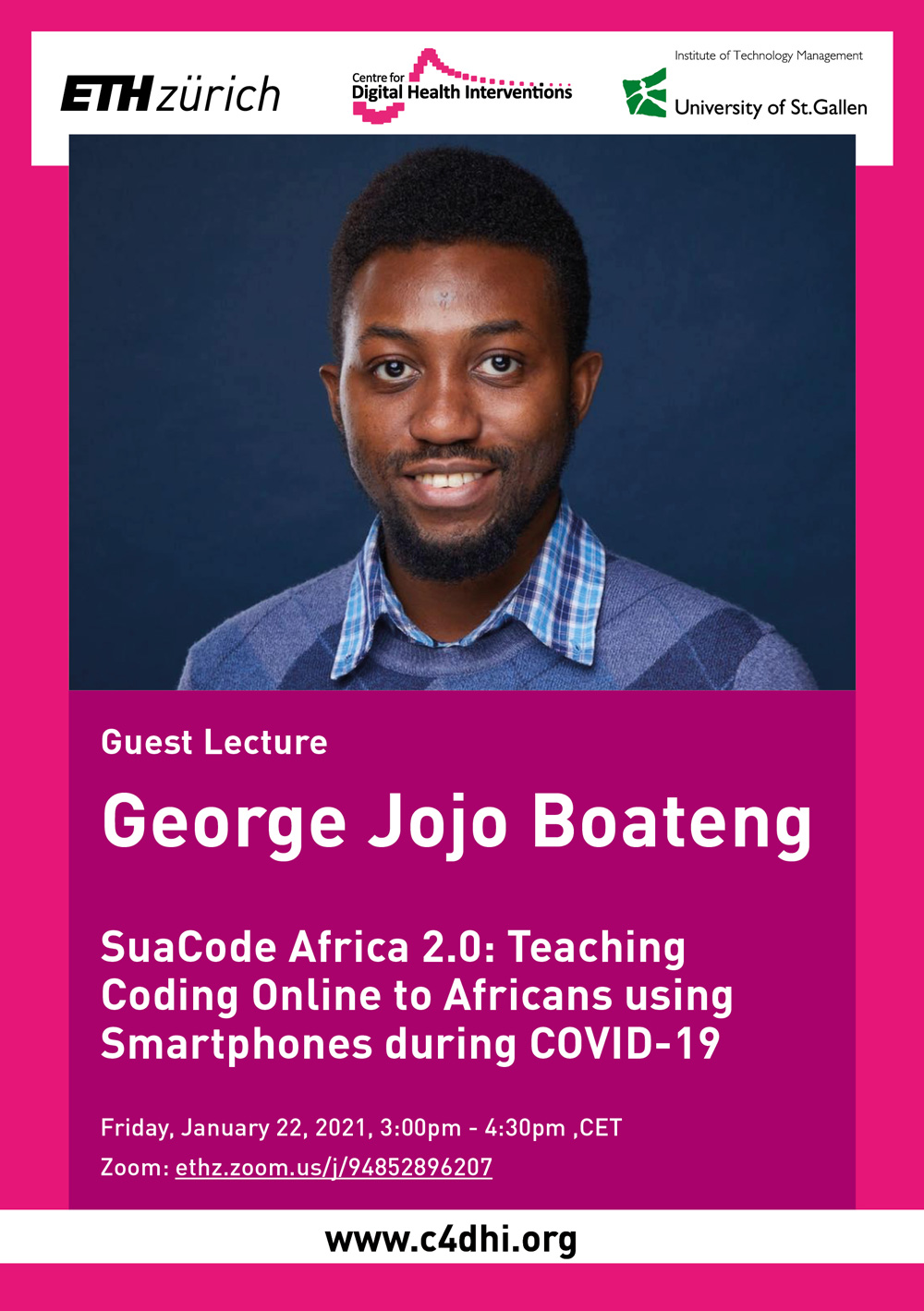 Guest Lecture by G. Boateng on SuaCode Africa 2.0: Teaching Coding Online to Africans using Smartphones during COVID-19, January 22, 2021